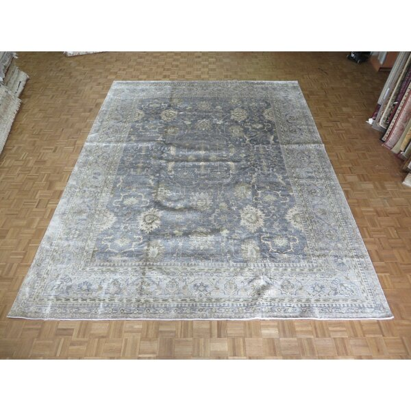 One-of-a-Kind Josephson Oushak Hand-Knotted Wool Silver/Blue Area Rug by Canora Grey