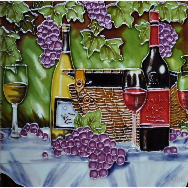 Wine, Basket, and Purple Grape Tile Wall Decor by Continental Art Center