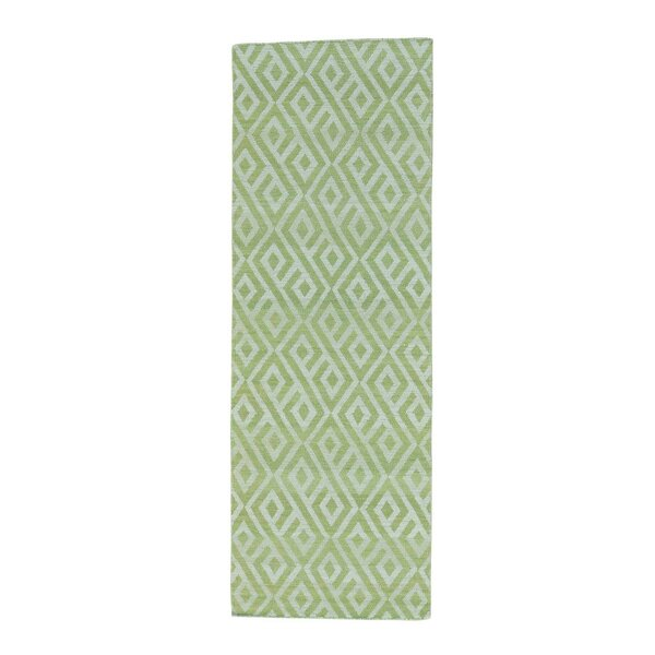 One-of-a-Kind Cilley Reversible Flat-Weave Hand-Knotted Wool Light Green Area Rug by Highland Dunes