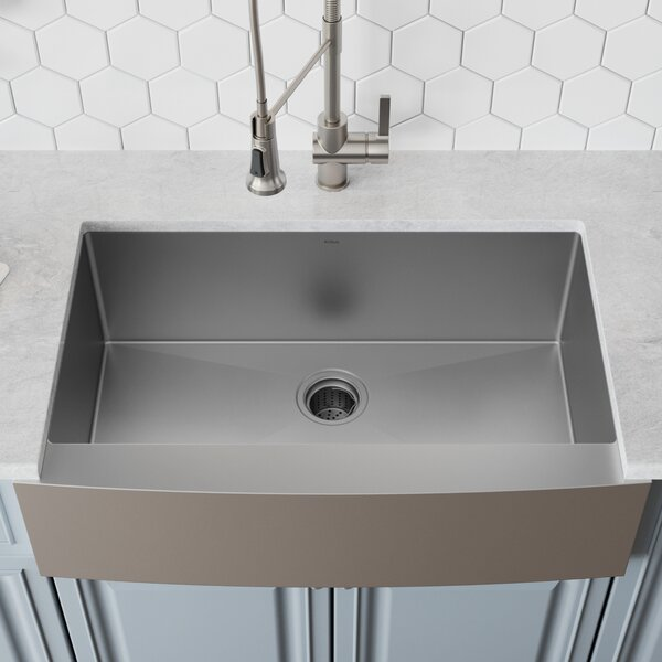 33 L x 21 W Farmhouse Kitchen Sink with Drain Assembly by Kraus