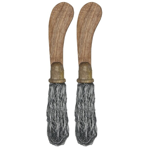 Fusco Mango Wood with Wire Handles Spreader Set (Set of 2) by Gracie Oaks