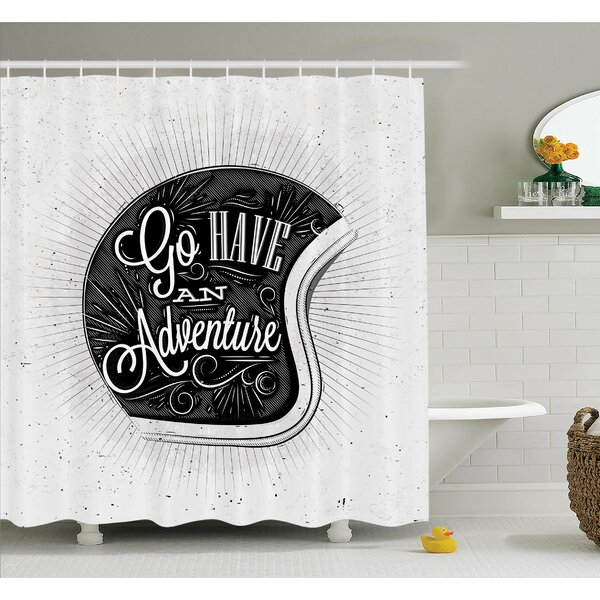 Ambesonne Motorcycle Figure With Adventure Quote And Ornate Lines Contemporary New Graphic Shower Curtain Set