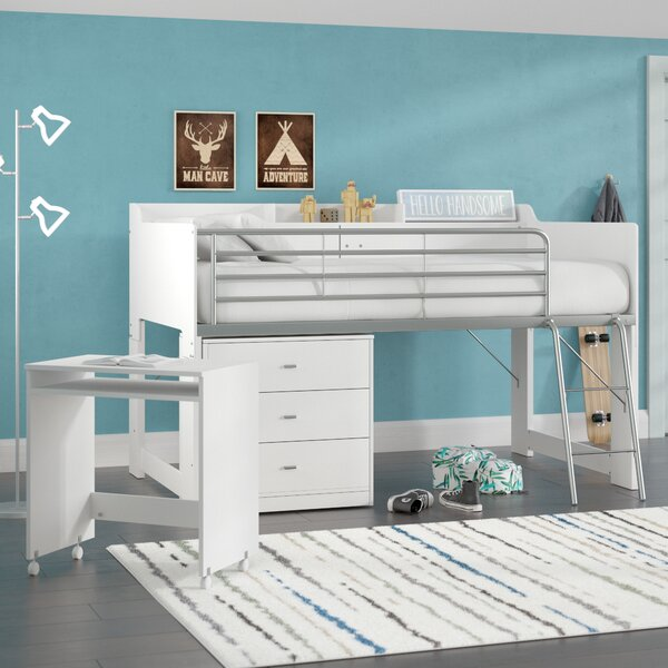 Feltner Twin Low Loft Bed With Desk and Storage by Harriet Bee