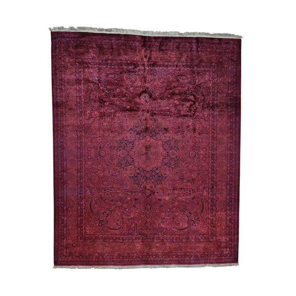 One-of-a-Kind Gerardi Overdyed Pak Persian Oriental Hand-Knotted Red Area Rug by World Menagerie