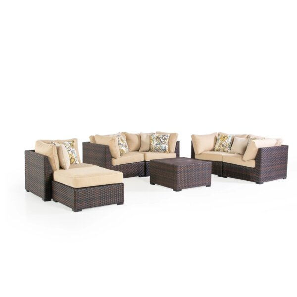 Alfread 5 Piece Patio Living Sofa Seating Group with Cushions by Latitude Run