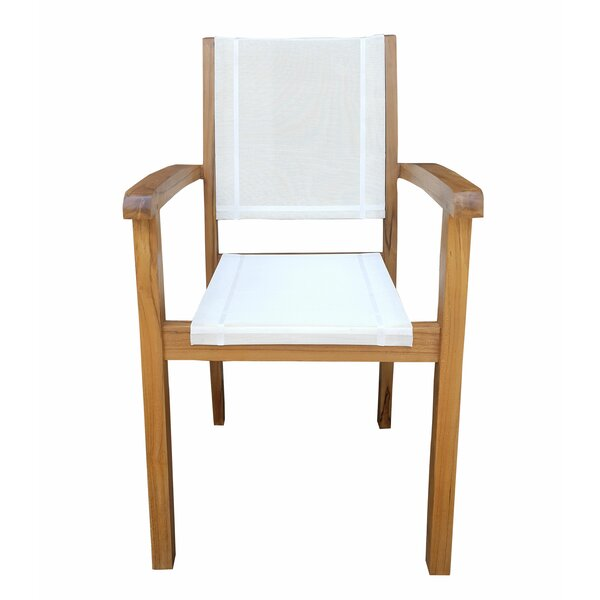 Mohammad Stacking Teak Patio Dining Chair by Longshore Tides
