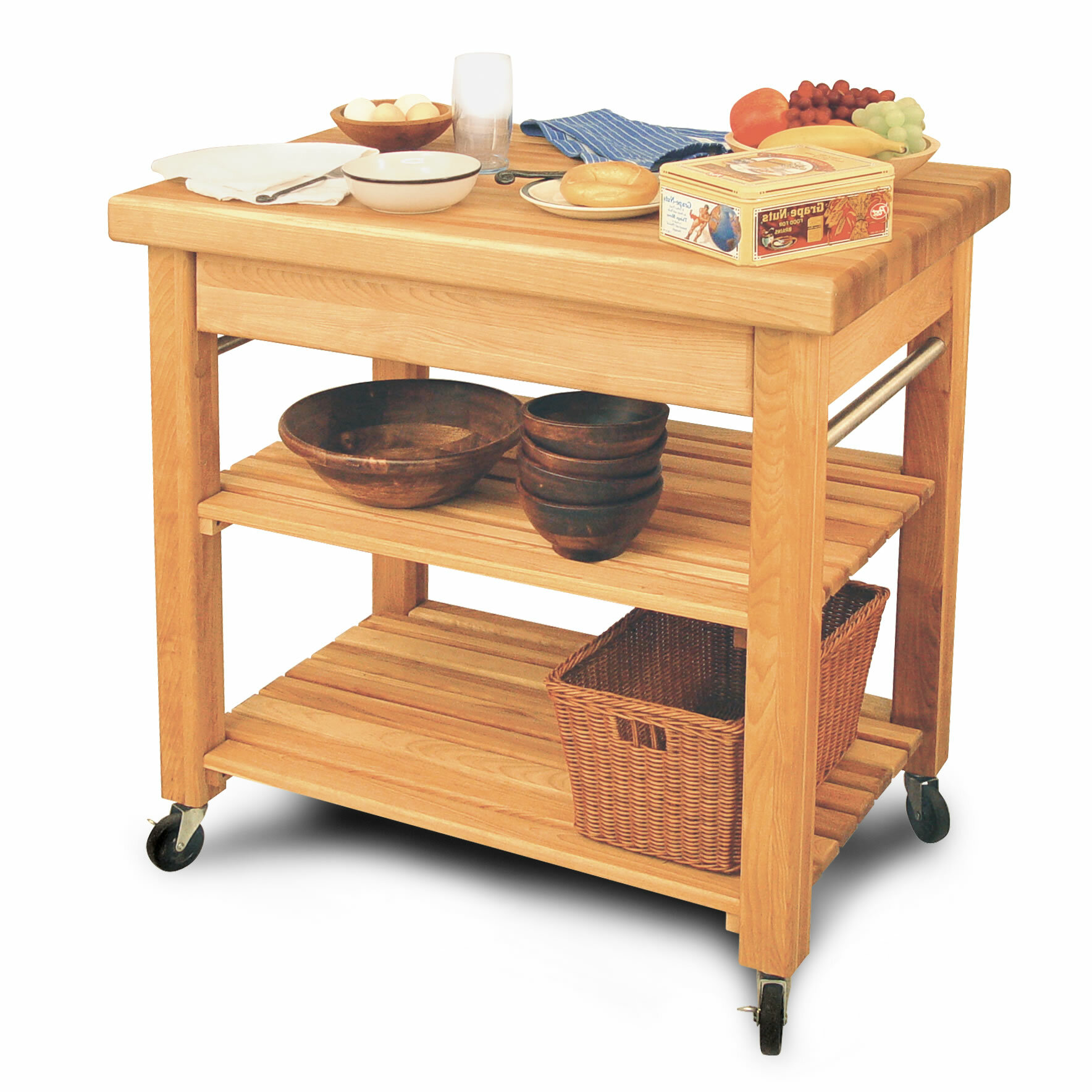 catskill craftsmen french country kitchen island with butcher block