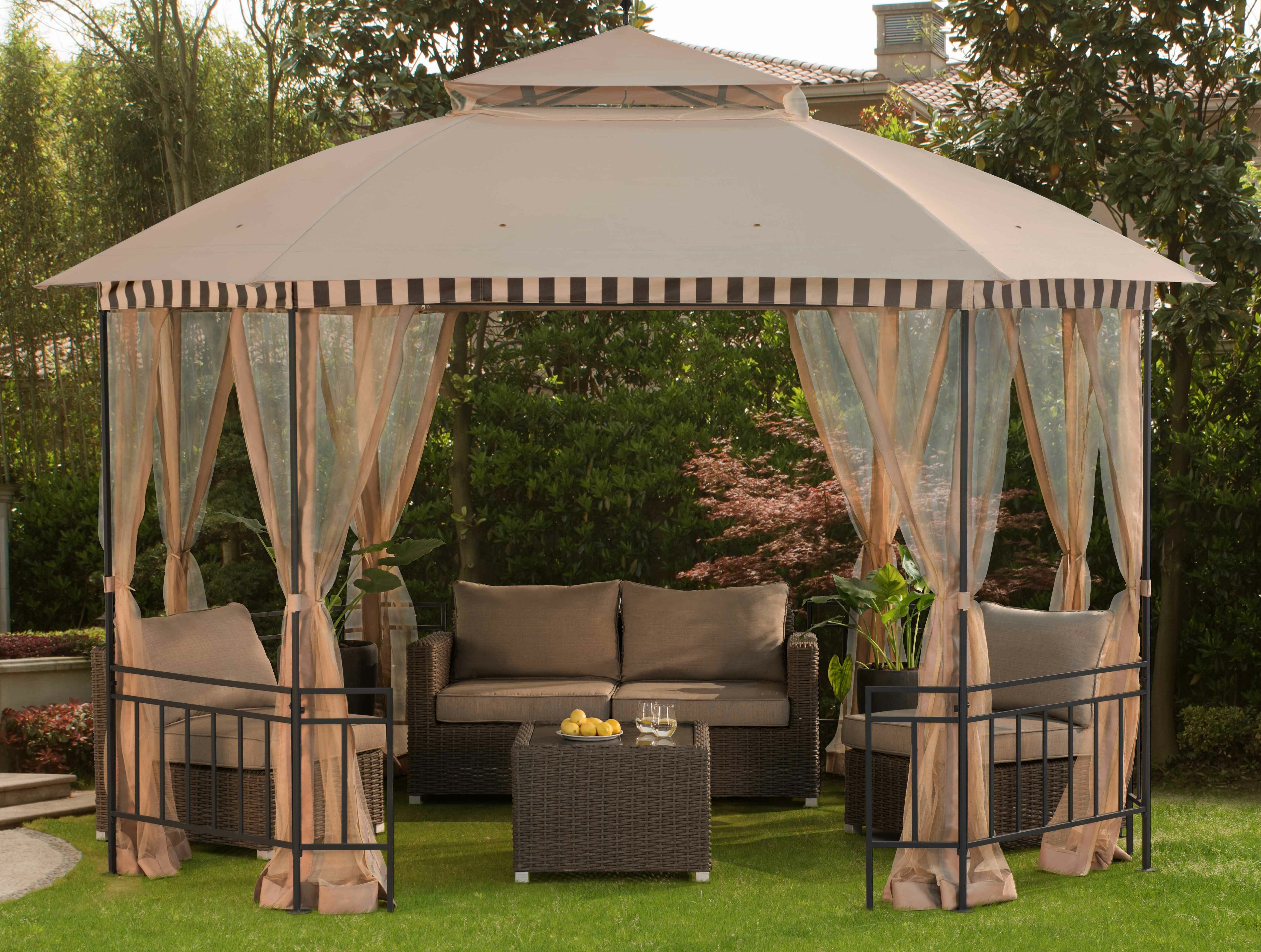 outdoor canopy patio steel netting outsunny garden tent itm gazebo party