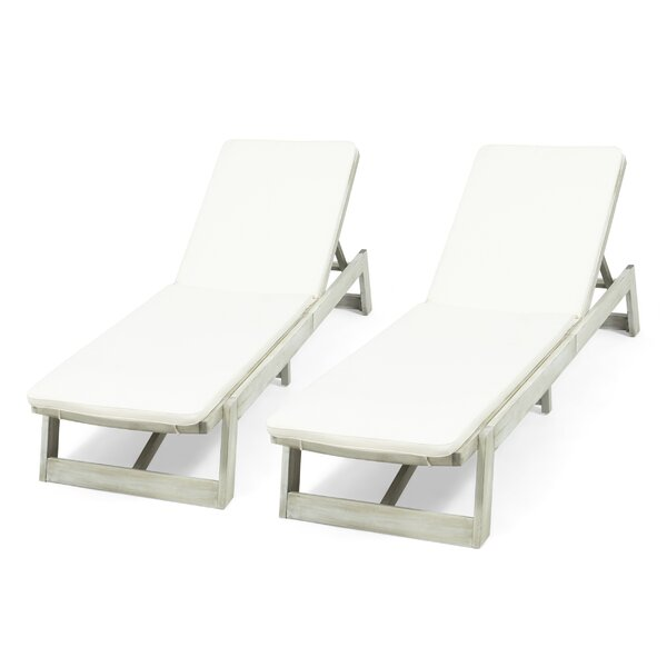 Gavyn Outdoor Reclining Chaise Lounge with Cushion (Set of 2) by Breakwater Bay