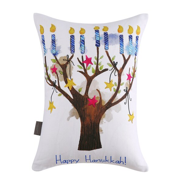 Indigo Hanukkah Tree Cotton Lumber Pillow by The Holiday Aisle
