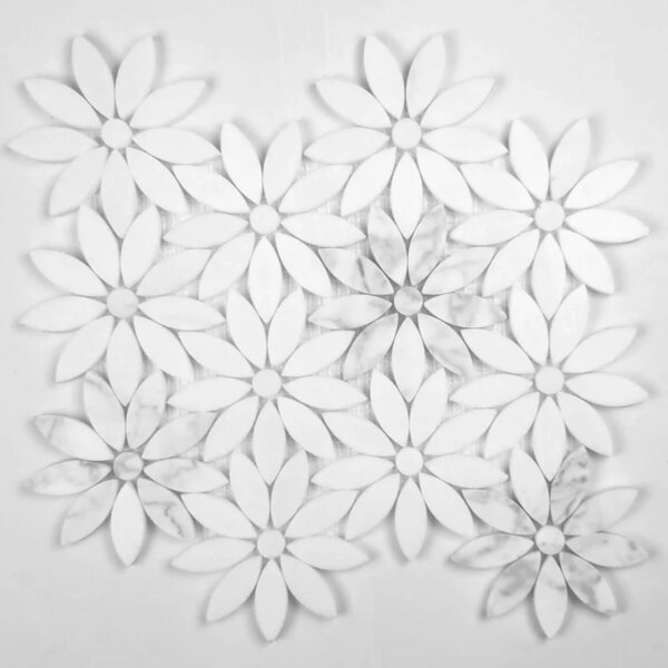 Daisy Field Flower Marble Novelty Mosaic Subway Wall & Floor Tile