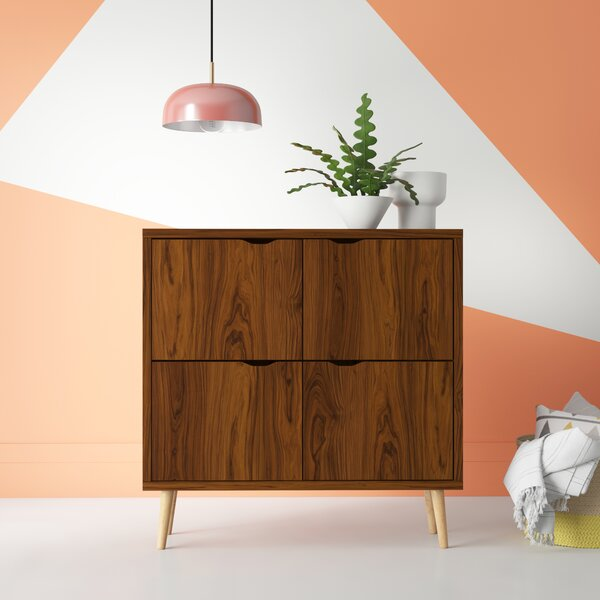 Roberta Mid Century 4 Door Accent Cabinet by Hashtag Home