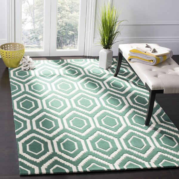 Wilkin Hand-Tufted Wool Teal/Ivory Area Rug by Wrought Studio