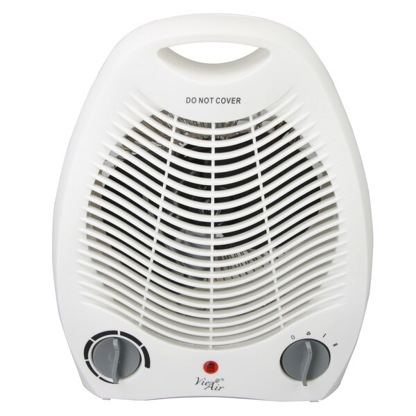 Portable 2 Settings Office 1,500 Watt Electric Fan Compact Heater with Adjustable Thermostat by Vie Air