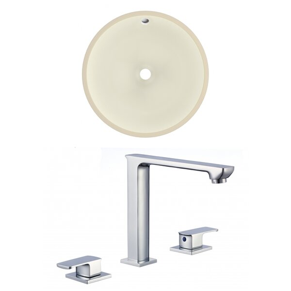Ceramic Circular Undermount Bathroom Sink with Overflow and Faucet