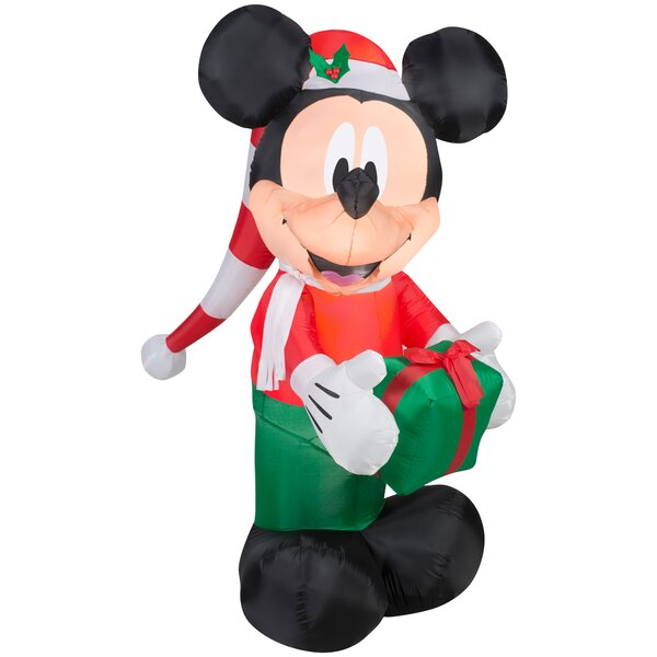 Airblown Mickey In Stocking Hat With Present S Large Disney Inflatable By Gemmy Industries.