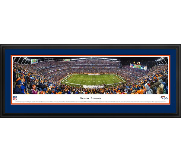 NFL Denver Broncos - 50 Yard Line Framed Photographic Print by Blakeway Worldwide Panoramas, Inc