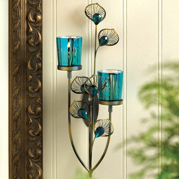 Peacock Plume Iron Sconce by World Menagerie