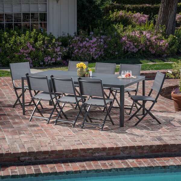 Ferris 9 Piece Outdoor Patio Dining Set by Latitude Run