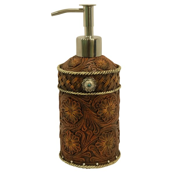 Tooled Flower Lotion and Soap Dispenser by De Leon Collections