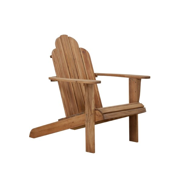 Spain Slatted Patio Dining Chair With Cushion By Breakwater Bay