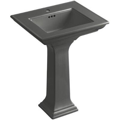 Pedestal Sink Ceramic Overflow Sink Thunder Faucet Mount Single photo