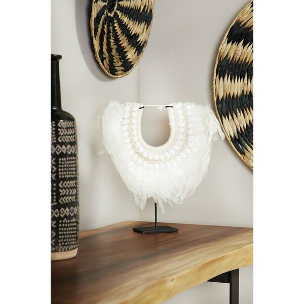 Doherty Shell and Feather Tribal Necklace Displayed on Iron Stand Sculpture by Union Rustic