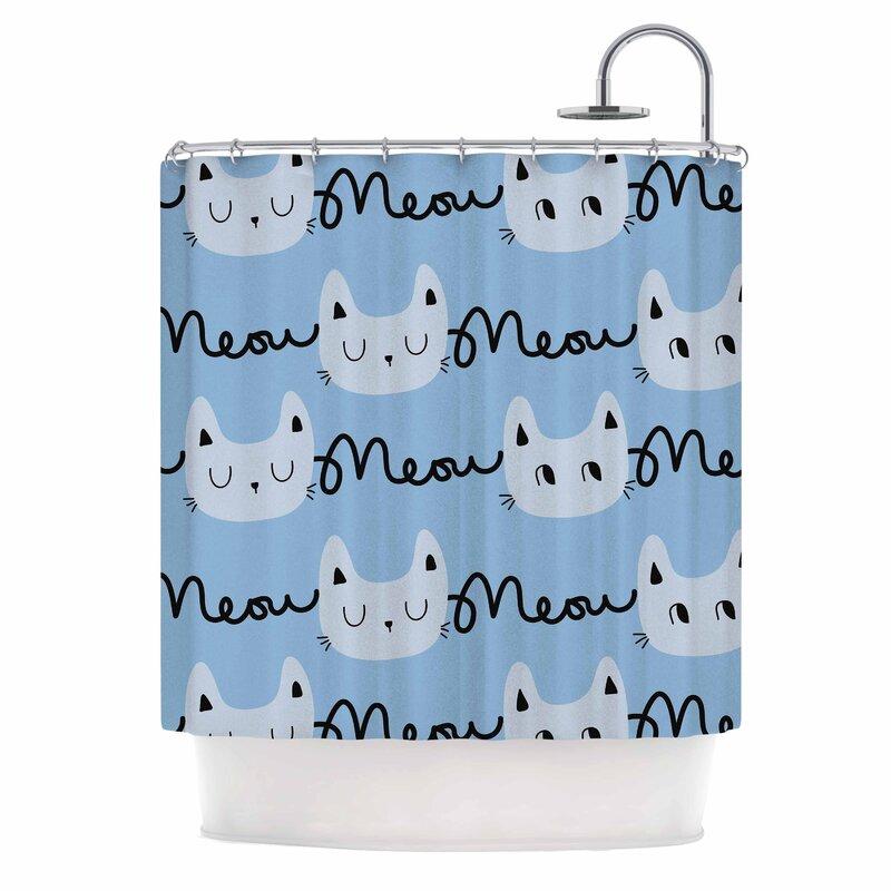 East Urban Home \'Meow Meow\' Cats Shower Curtain & Reviews | Wayfair