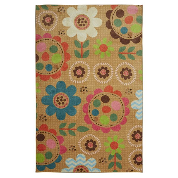 Johansson Critters Floral Tawny/Pink Area Rug by Harriet Bee