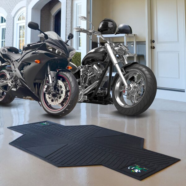 NCAA Notre Dame Motorcycle Motorcycle Garage Flooring Roll in Black by FANMATS