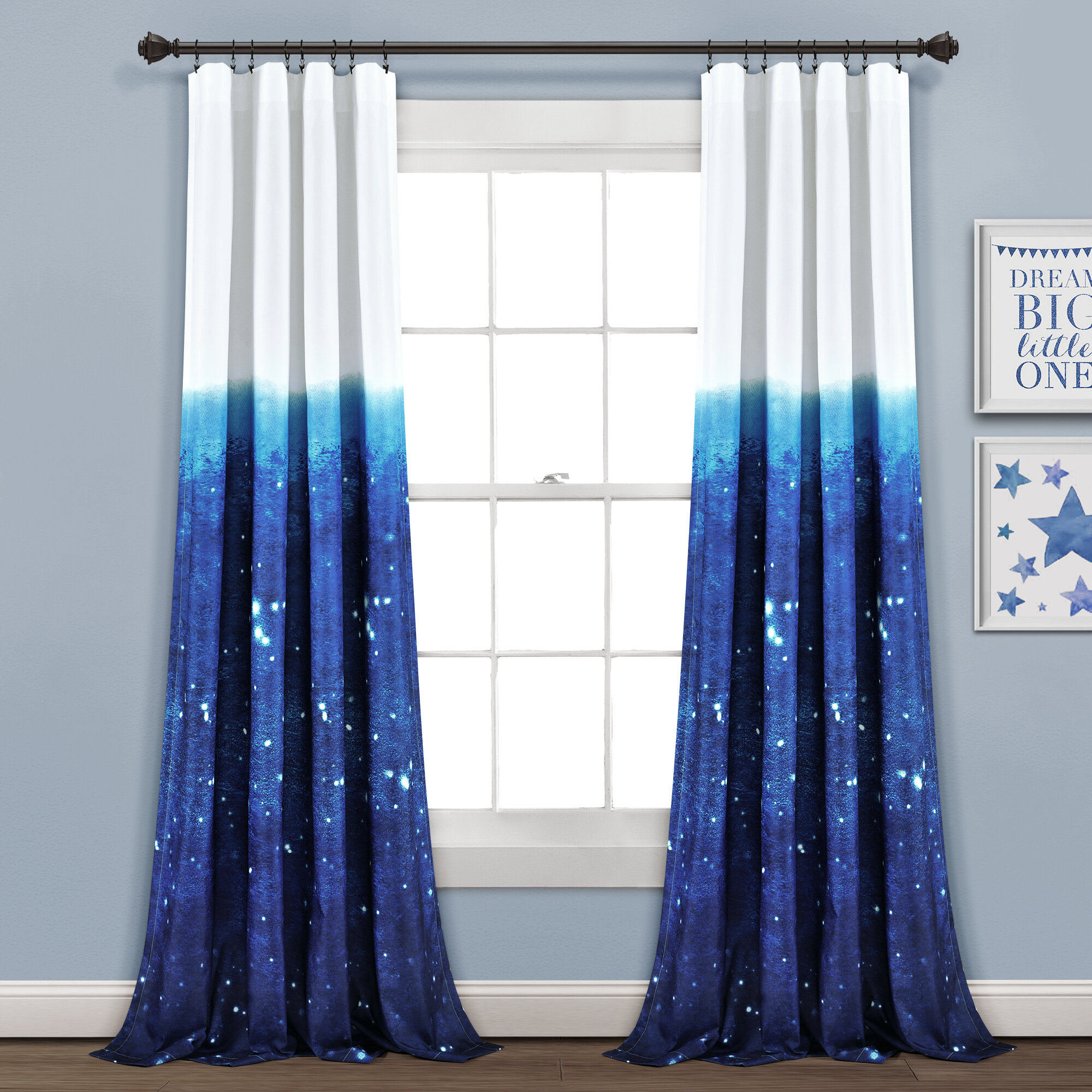 Space Window Curtains kids Drapery childrens Curtain Panels star constellations