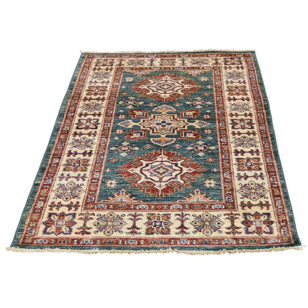 One-of-a-Kind Tilomar Hand-Knotted Teal Area Rug by Millwood Pines