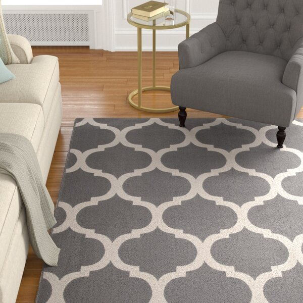 Estelle Trellis Machine Woven Synthetic Gray/Ivory Area Rug by Alcott Hill