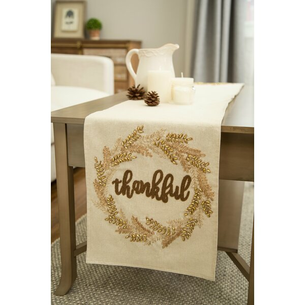 Cielito Embroidered Thanksgiving Table Runner by The Holiday Aisle