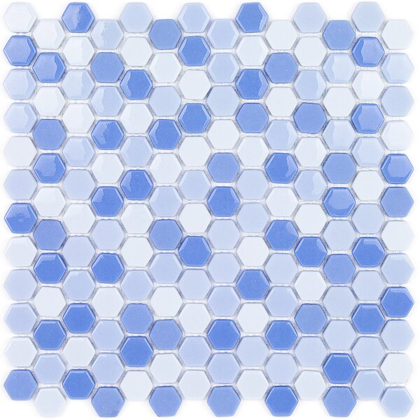 Recoup 11.5 x 12 Glass Mosaic Tile in Azure by Splashback Tile