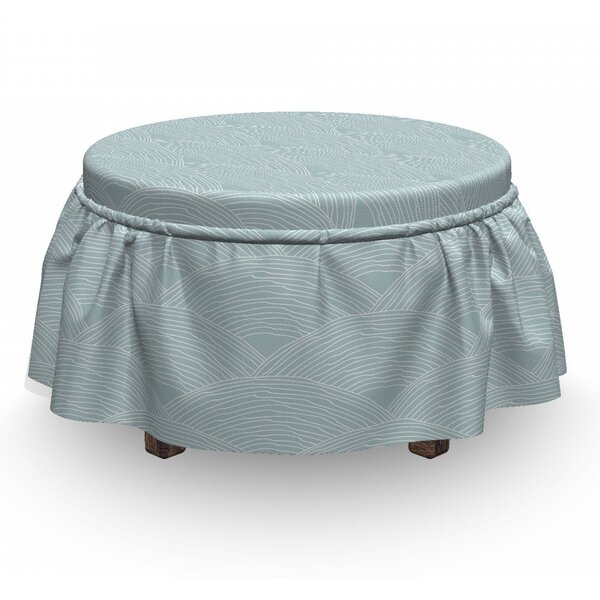 Home & Outdoor Doodle Waving Lines Ottoman Slipcover (Set Of 2)