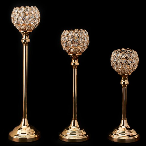 Crystal Ball 3 Piece Candlestick Set by House of H