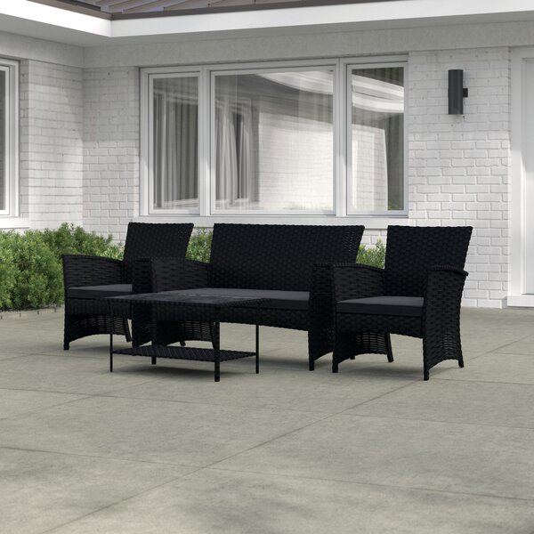 Lunsford 4 Piece Rattan Sofa Seating Group With Cushions By Mercury Row by Mercury Row Design