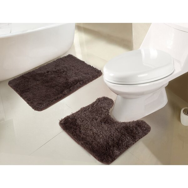 Efimenko 2-Piece Jasper Shaggy Bath Rug Set by Ebern Designs