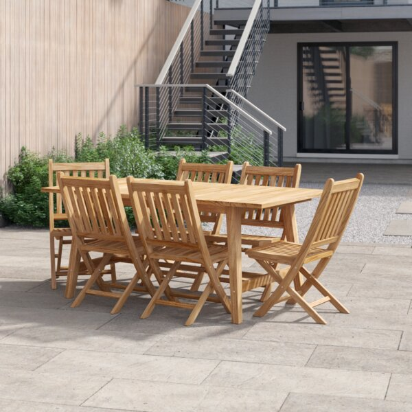 Anthony Outdoor Patio 7 Piece Teak Dining Set By Foundstone