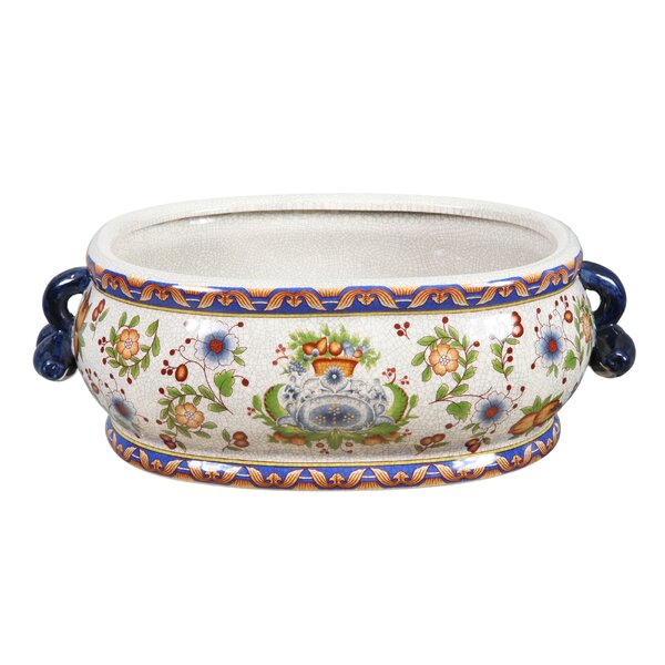 Tuscan Floral Ceramic Pot Planter by Winward Silks