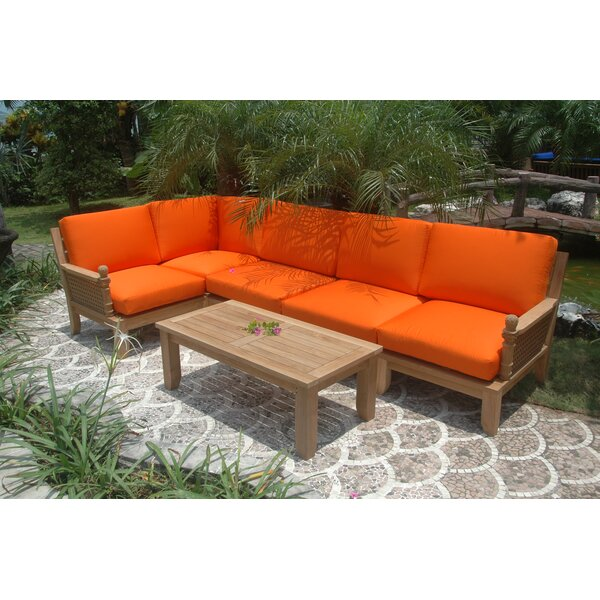 Luxe Modular 5 Piece Teak Sunbrella Sectional Seating Group by Anderson Teak