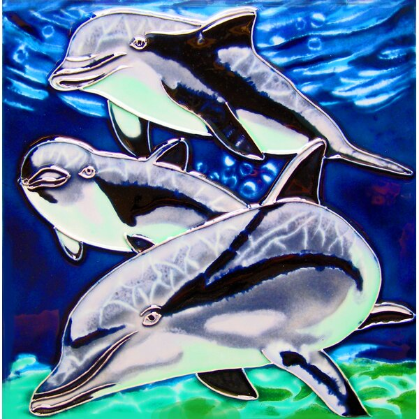 3 Dolphins Tile Wall Decor by Continental Art Center