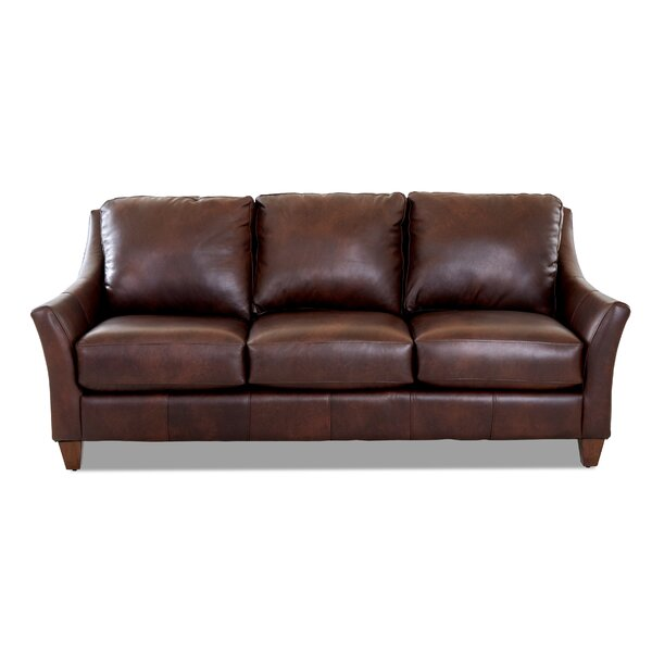 Best Deal Session Leather Sofa by Millwood Pines by Millwood Pines