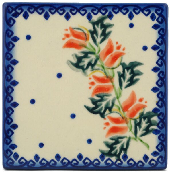 California Poppies 4.37 x 4.37 Ceramic Polish Pottery Decorative Accent Tile by Polmedia