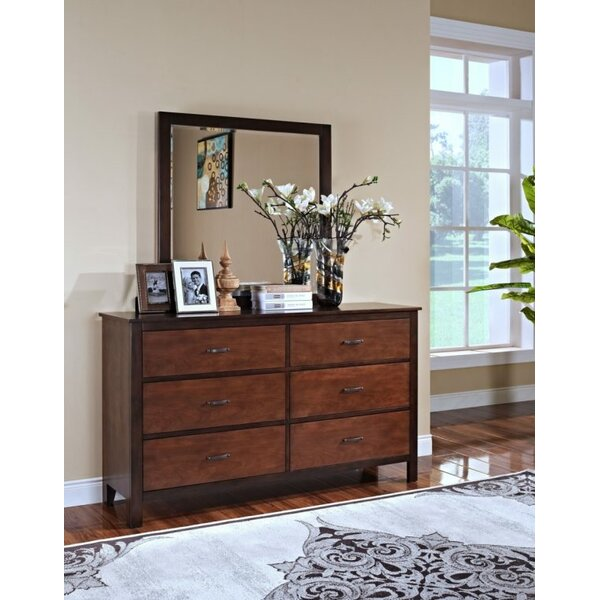 Bynum 6 Drawer Double Dresser with Mirror by Millwood Pines Millwood Pines