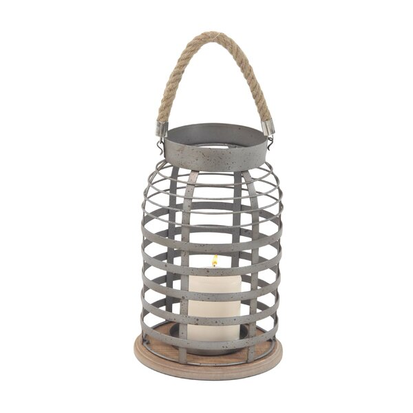 Industrial Grid Frame and Lantern with Rope Handle by Williston Forge