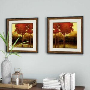 'Fluffy Trees' 2 Piece Framed Painting Print Set by Alcott Hill