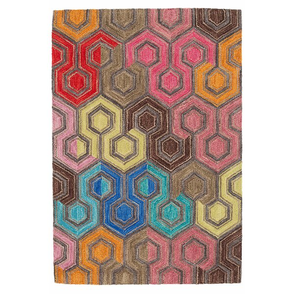 Geodesic Hand Hooked Wool Brown/Pink Area Rug by Dash and Albert Rugs