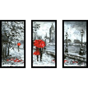 London Romance 3 Piece Framed Painting Print Set by Picture Perfect International
